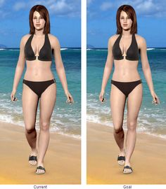 My models, showing me at my current weight, (allegedly, I don't look like that in any bikini), and my goal weight...