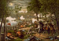 """This vintage American Civil War print features The Battle of Chancellorsville and shows the death of Confederate General Thomas """"Stonewall"""" Jackson. The battle occurred April 30 to May Battle Of Chancellorsville, Shelby Foote, Battle Of Borodino, Mexican Army, Civil War Art, War Novels, Stonewall Jackson, History Online, American Civil War"""