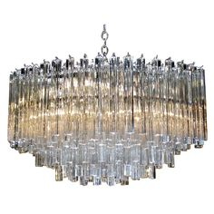 Huge Oval Venini Italian Triedi Crystal Prism Chandelier | From a unique collection of antique and modern chandeliers and pendants  at http://www.1stdibs.com/furniture/lighting/chandeliers-pendant-lights/