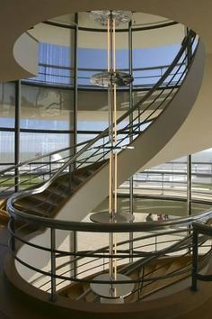 size: Photographic Print: South Staircase, De La Warr Pavilion, Bexhill on Sea, East Sussex by Peter Thompson : Cuisine Architecture Concept Drawings, Pavilion Architecture, Sustainable Architecture, Modern Architecture, Residential Architecture, Erich Mendelsohn, Tower House, East Sussex, Architectural Elements