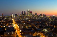 Philadelphia's skyline, looking south from Temple University - Philadelphia, Pennsylvania, USA Philadelphia Neighborhoods, Philadelphia Skyline, University Dorms, Visit Philly, Big Town, Best Vacation Destinations, Oh The Places You'll Go, San Francisco Skyline