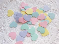 Small Pastel Heart Confetti Die Cuts by LilpawsPaperArt on Etsy, $5.00