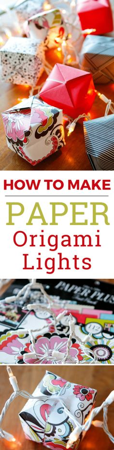 Origami Lights -- transform the classic Chinese water bomb into origami light covers to create these gorgeous origami string lights, a beautiful and festive lighting option! Not just for Chinese New Year, they're a great option for indoor or outdoor parti