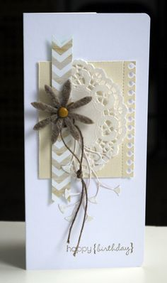 cute idea for flower stem -- tie knot in stiff string/twine/cording and adhere loop behind flower accent