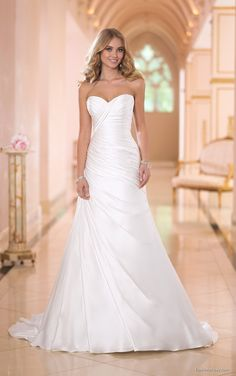 Stella York's red carpet wedding dresses feature a glamorous rich Regal Satin and asymmetrical pleating. Exclusive designer glamorous wedding dresses by Stella York. Ruched Wedding Dress, Elegant Wedding Dress, Perfect Wedding Dress, Dream Wedding Dresses, Bridal Dresses, Wedding Gowns, Bridesmaid Dresses, Lace Wedding, Lace Bride