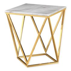 With its modern approach, the TOV Furniture Leopold Marble Side Table has an organic twist that will add serious style to any room in your home. Its gorgeous white top is elevated above an impressive gold steel frame for a unique, handmade piece. Marble Top Side Table, Marble End Tables, Mirrored Side Tables, Black Side Table, White Side Tables, Modern Side Table, Mens Bedding Sets, Bamboo Sofa, Sofa Side Table
