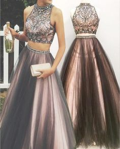 Sexy Two Pieces A line Beaded Evening Prom Dresses, Halter Long Tulle Party Prom Dress, Custom Long Prom Dresses, Cheap Formal Prom Dresses, 17085