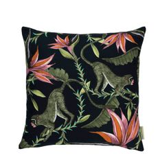 silk Ardmore cushion cover in Monkey Paradise design, Night colour. Floral Throw Pillows, Scatter Cushions, Decorative Throw Pillows, Silk Pillow, Cotton Pillow, Cushion Pads, Cushion Covers, Bowl Designs, Decoration