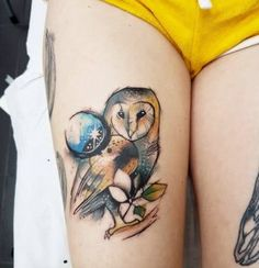 Playful watercolor owl tattoo by Josie Sexton