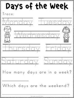 of the Week Worksheets Kindergarten Readiness, Kindergarten Math Worksheets, Kindergarten Learning, Preschool Learning Activities, Preschool Lessons, Teaching Kids, Printable Preschool Worksheets, Kindergarten Calendar, Math Literacy