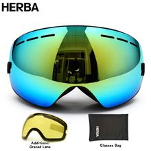 US $30.24 New HERBA brand ski goggles double UV400 anti-fog big ski mask glasses skiing men women snow snowboard goggles HB3-2. Aliexpress product