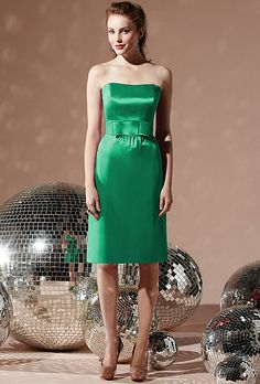 Brides: Social. Style 8110, Social strapless matte satin dress with waist bow in Pantone emerald, $230, available at Weddington Way