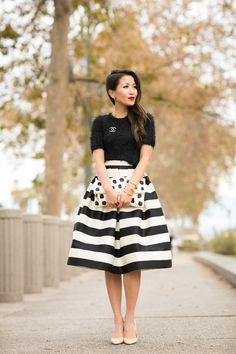 Fuzzy sweater and stripes modest black and white midi skirt | Follow Mode-sty for stylish modest clothing www.mode-sty.com  #nolayering