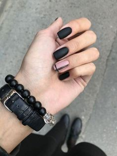 Nail art nail black nails nail black nail beauty manicure Source by Line Nail Designs, Black Nail Designs, Matte Nail Designs, Simple Nail Art Designs, Short Nail Designs, Matte Black Nails, Black Nail Art, Black Manicure, Black Nails Short