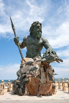 Picture of A large public statue of King Neptune welcomes all to Virginia Beach in Virginia USA. stock photo, images and stock photography. Virginia Beach Boardwalk, Virginia Usa, Colonial America, Mermaids And Mermen, Historical Monuments, Best Western, Wanderlust Travel, Beautiful World, Scores