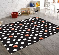 Black Polka Dot, Polka Dot Rug, Black And White Rug, Black Rug, Living Room Rug,Black And White Art, Decorative Rugs, Flower Rug, Area Rug