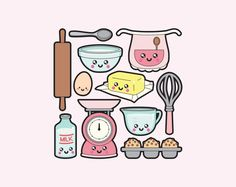 Premium Vector Clipart Kawaii Baking Clipart Kawaii baking