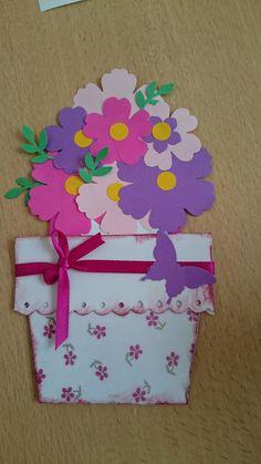 carte pot de fleurs, fête des mères