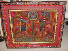 Molas are extremely colorful and uplifting when used in home design. I hand paint one of a kind signed custom frames, made to match and enhance each mola in a different way.  Asmatcollection on ebay and bonanza.com Contact us with questions: cheetahdmr@aol.com