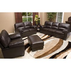 abbyson living charleston premium topgrain leather sofa loveseat and armchair set