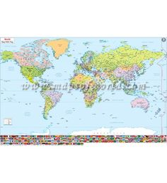 Buy world map with country flags 47x35 inches flags detailed world map with flags map of the world showing major cities of the world along with country flags gumiabroncs Choice Image