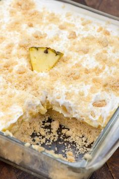 This Pineapple Dream Dessert is a no bake pineapple lush recipe. It has a shortbread crust and is the perfect no-bake dessert recipe!