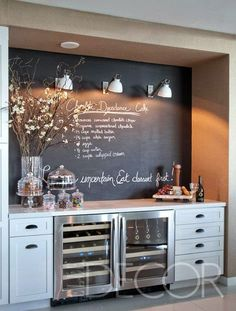 Keukeninspiratie - muur met krijtbord verf bij de keuken. Leuk voor recepten of boodschappenlijstje