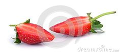 Sliced strawberry on white isolated background.