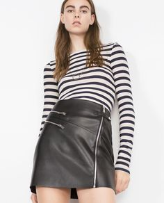 FAUX LEATHER SKIRT WITH ZIPS-View all-Woman-NEW IN | ZARA United States