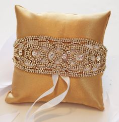 Gold Pillow Ring for Dogs Gold Rhinestone Gold by LADogStore, $42.99