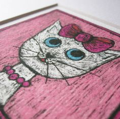 Cat picture - portrait of a white cat on a pink background Giclée print from an original drawing by stupidcats - a great cat art gift for cat lovers!