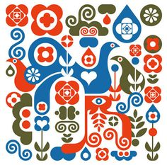Fernando Volken Togni from Brazil The Folk Festival theme is my good excuse to post some more festive creations by modern artists and desi. Folklore, Scandinavian Folk Art, Scandinavian Embroidery, Love Illustration, Arte Popular, Modern Artists, Illustrations, Print Patterns, Artsy