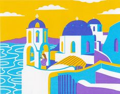 iCanvas Santorini Gallery Wrapped Canvas Art Print by Boyoun Kim Posca Marker, Marker Art, Art Sketches, Art Drawings, Posca Art, Arte Sketchbook, Art Anime, Art Graphique, Pen Art