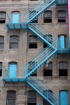 Blue fire stairs by James.Robertson, via Flickr