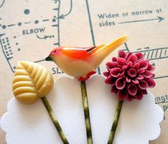 Sweet hair pins from Paper and Ribbons on Etsy