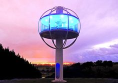 Jono Williams has built the world's coolest man cave in New Zealand. A solar-powered, app-controlled tower 33 feet off the ground, The Skysphere boasts 360 degree views. Ultimate Man Cave, Power Man, Beer Cooler, Eco Architecture, Diy For Men, Construction, Green Building, Modern House Design, Modern Houses