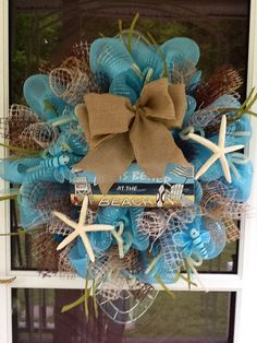 Beach Deco Mesh Wreath by WreathsEtc on Etsy, $138.00