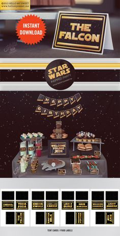 Star Wars Labels - INSTANT DOWNLOAD - Printable Birthday Party Decorations - Food Tags Buffet Cards - Black, Gold and Yellow. $8.00, via Etsy.