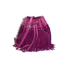 Diane von Furstenberg Women's Disco Drawstring Leather Fringe Bag -... (€145) ❤ liked on Polyvore featuring bags, handbags, shoulder bags, purple leather shoulder bag, leather purses, leather shoulder bag, leather cross body purse and purple leather purse