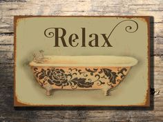 Bathroom Signs Relax shabby chic toilet sign rustic wood sign hand painted reclaimed