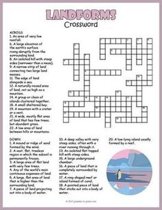 A printable crossword for elementary school students featuring definitions of various landforms. Puzzlers must respond with the correct vocabulary word. Landforms Worksheet, Geography Worksheets, Teaching Geography, School Worksheets, Teaching History, History Education, Education Major, Geography Map, Teaching Resources