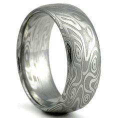 Wedding Ring for Men Damascus Steel Wide by MokumeDamascusRings Alternative Wedding Rings, Cool Wedding Rings, Wedding Bands, Damascus Ring, Damascus Steel, Gold Liner, Princess Cut Rings, Star Ring, Wave Pattern