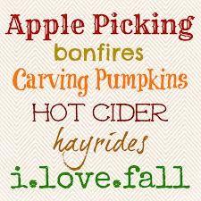 Apple picking bonfires carving pumpkins hot cider hayrides i love fall