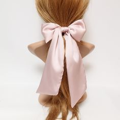 Glossy satin bow knot long tail hair tie solid color ponytail holder women hair elastic - Most beautiful women hairstyle models Handmade Hair Accessories, Hair Accessories For Women, Bow Ponytail, Long Ponytails, Hair Bow Tutorial, Hair Ribbons, Metal Hair Clips, Ponytail Holders, Hair Barrettes