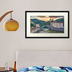 """""""Dolceacqua ancient castle and stone bridge, Italy"""" Framed Art Print by PaoloModena 