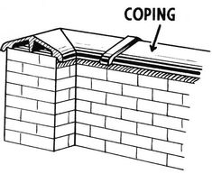 COPING : A protective cap of brick, stone, or concrete used at the top of a wall to prevent water penetration