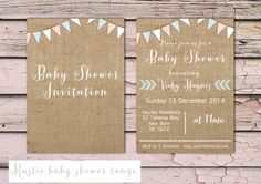 Printable Rustic Baby Shower Invitation  burlap by PeonyandLaceUK, £10.00