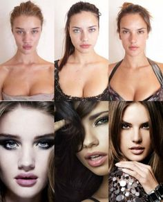 Rosie Huntington-Whiteley, Adriana Lima and Alessandra Ambrosio before and after professional makeup, professional hair and photoshop. Even THEY don't look like the pictures they sell! #skinnyisalie #HAES #StopDieting #BodyLoveProject