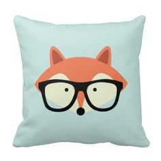 Adorable vector illustration of a cute little red fox wearing an oversized pair of glasses.