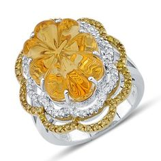 Gorgeous Designer Cut Citrine White and Yellow Round Prong Set Diamond Large Gemstone Flower Ring In 14K White Gold    $960.00